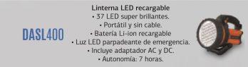 Linterna Led C/cargador De Bateria Daewoo Dasl400