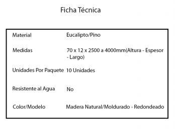 Zocalo Contramarcos Guardasilla Madera Pino/Eucalipto 7cm Redondeado o Moldurado