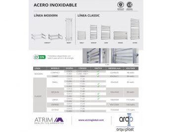 Toallero Electrico Acero Inoxidable Atrim Small Plus Coco-1120+