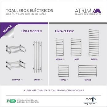 Toallero Electrico Acero Inoxidable Atrim Medium Plus Cubic-1148+