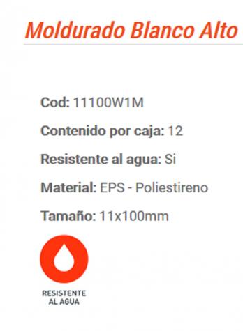 Zocalo De Pvc 10cm Canto Moldurado Color Blanco