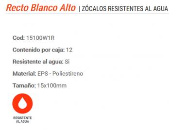 Zocalo De Pvc 10cm Canto Recto Color Blanco